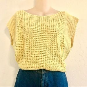 Sweaters - SOLD!  yellow sleeveless loose knit sweater top